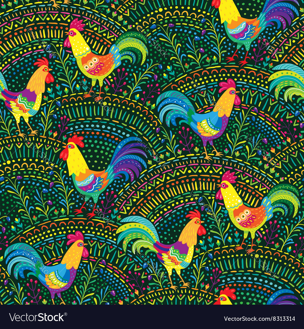 Roosters pattern green vector