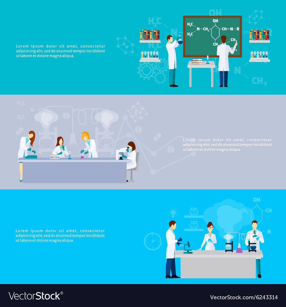 Scientist banner set vector