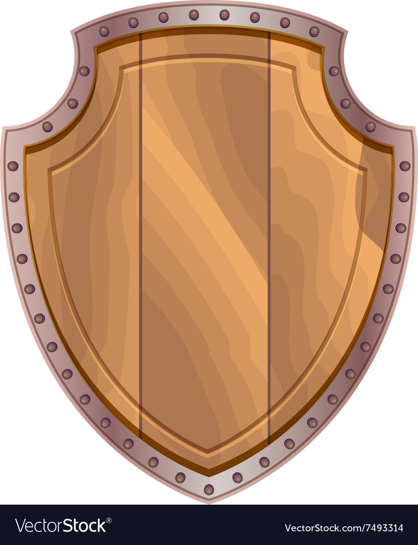 Wooden shield with steel edging vector