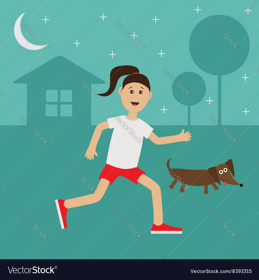 Cartoon running girl dachshund dog cute run woman vector