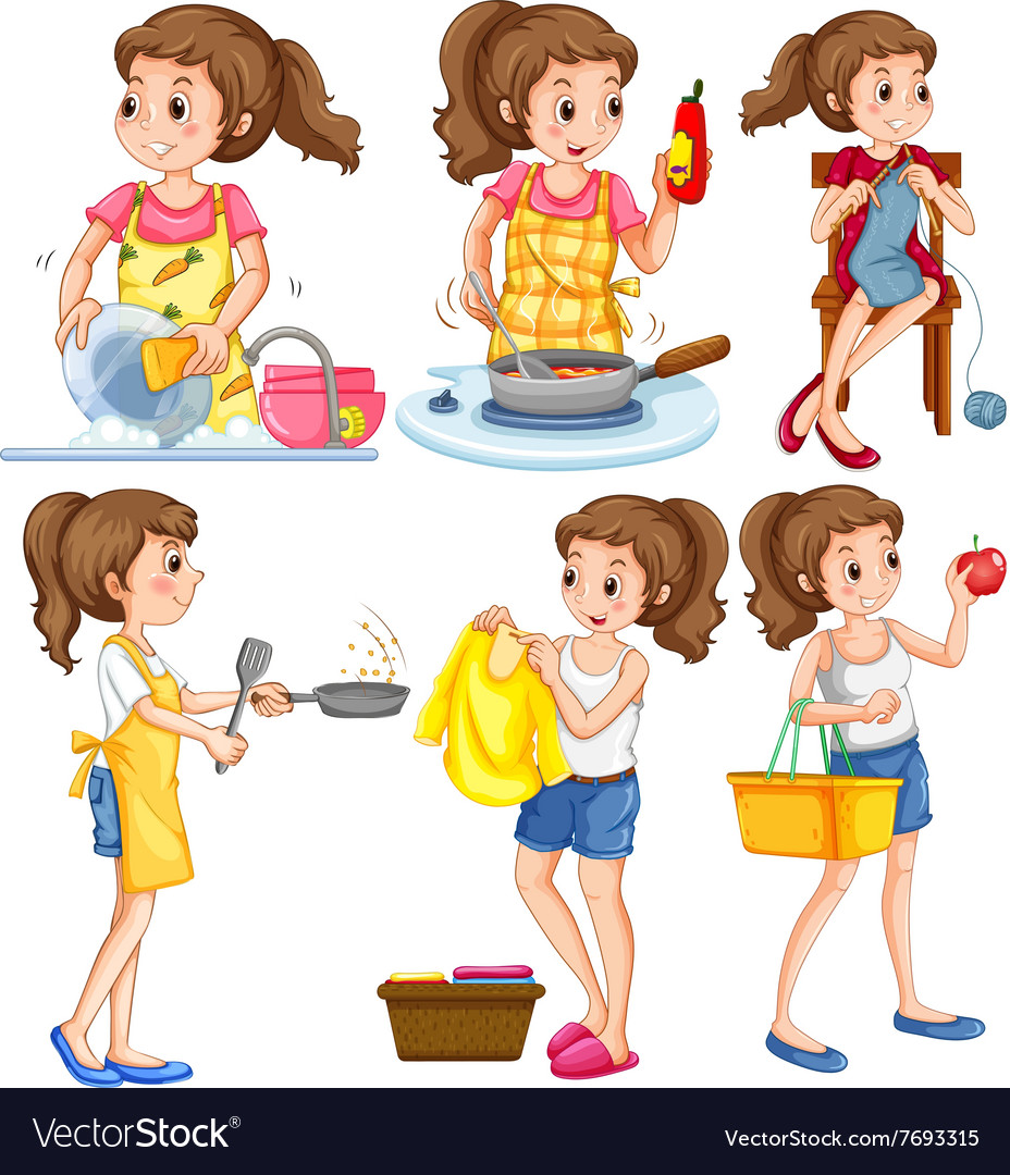 Housewife doing different chores vector