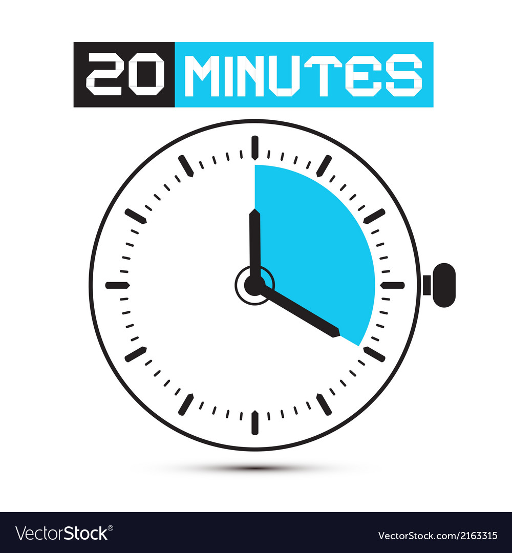 Twenty minutes stop watch  clock vector