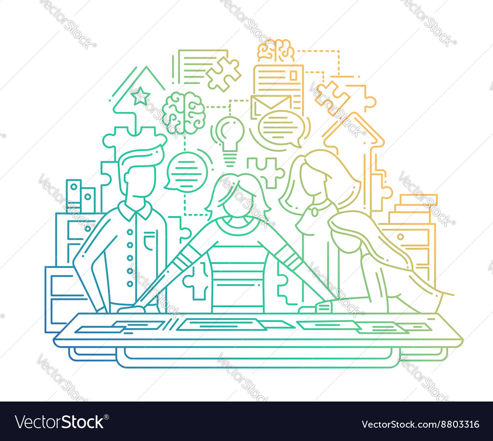Creative process  line design vector