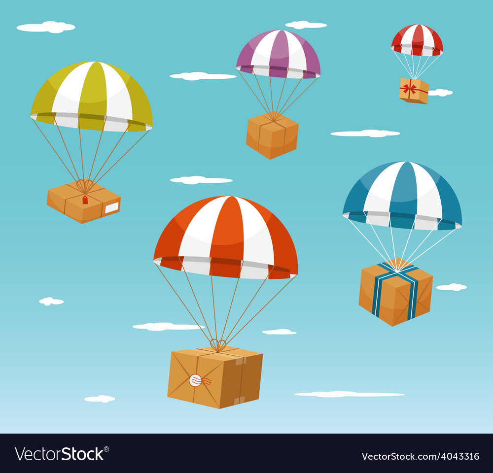 Delivery concept  gift boxes on parachute vector
