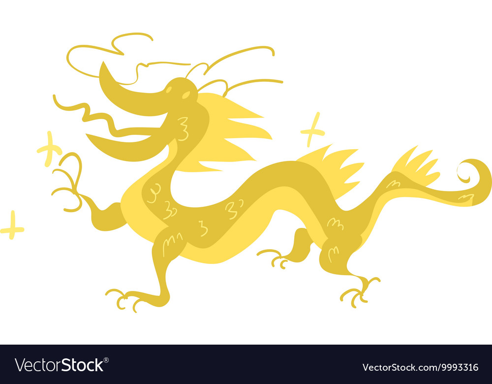 Funny flat cartoon chinese golden dragon vector