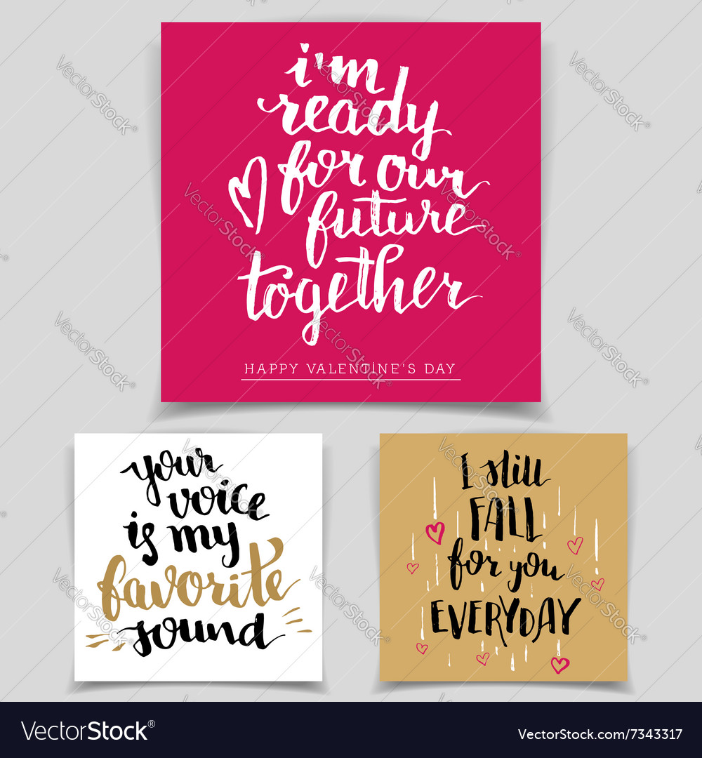 Brush calligraphy love cards set vector