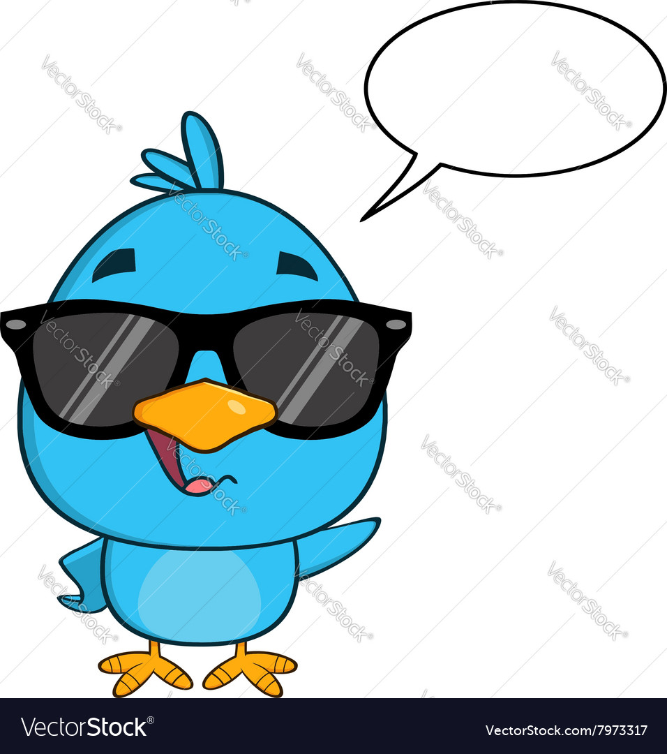 Hipster bird cartoon with sunglasses vector