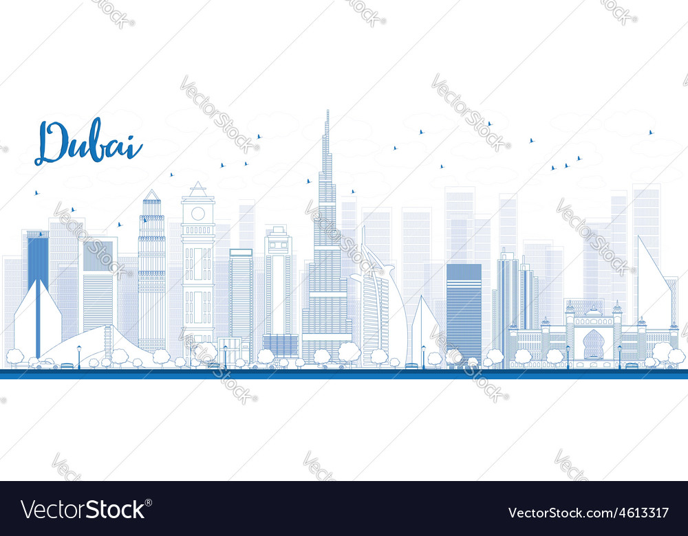 Outline dubai city skyline vector