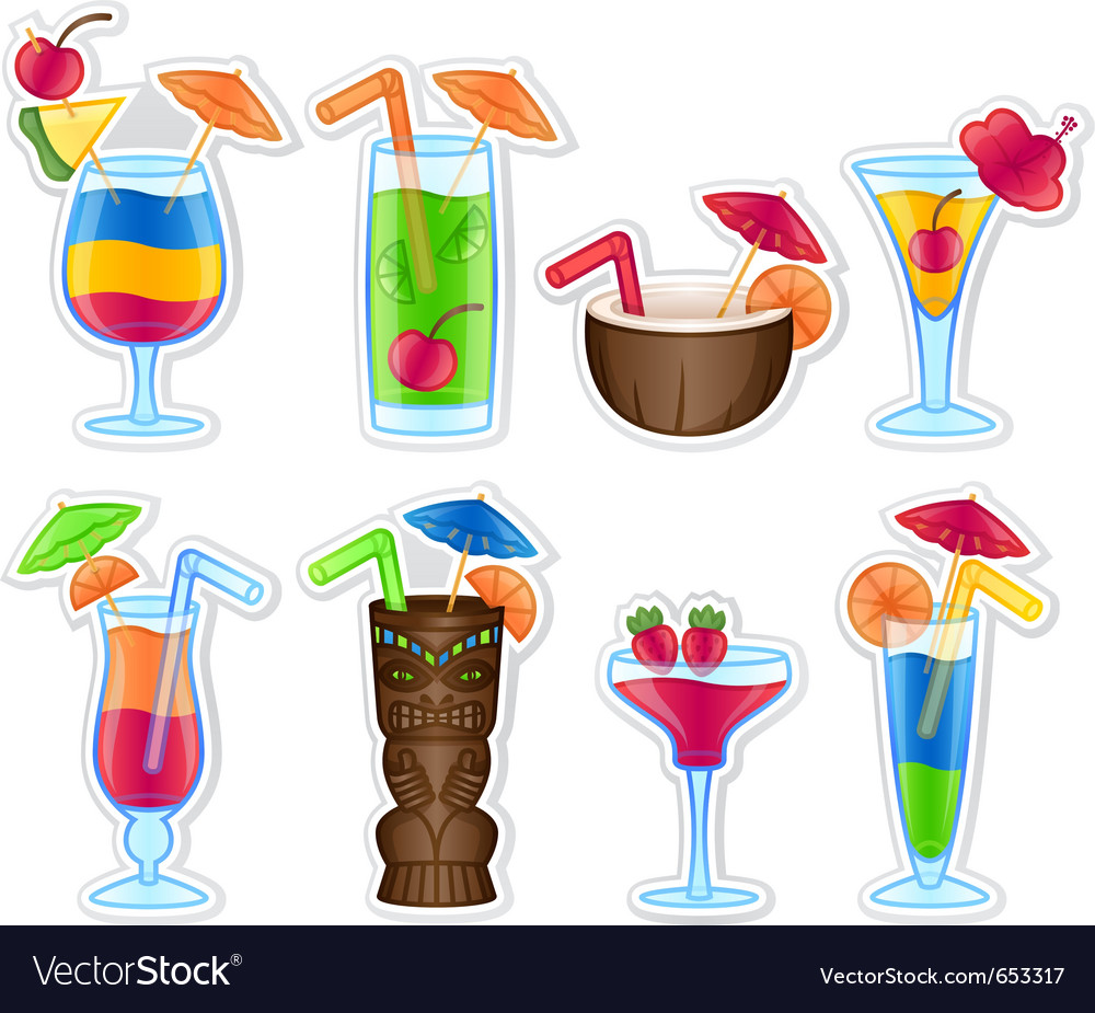 Tropical drinks vector