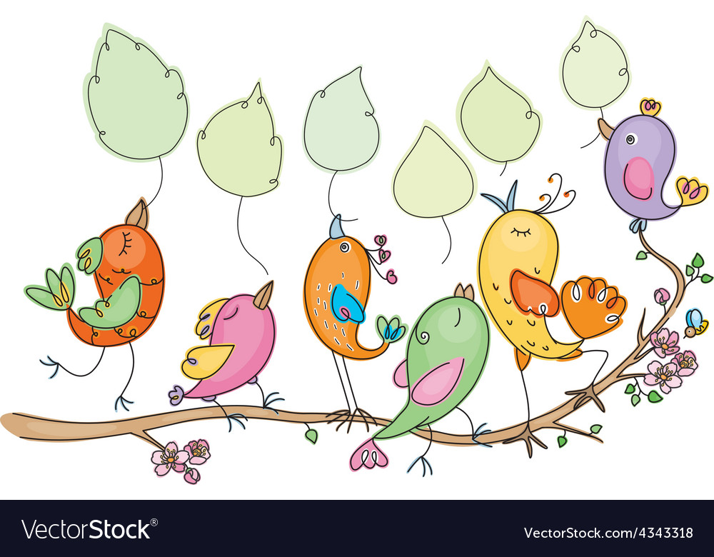 Easter birds vector