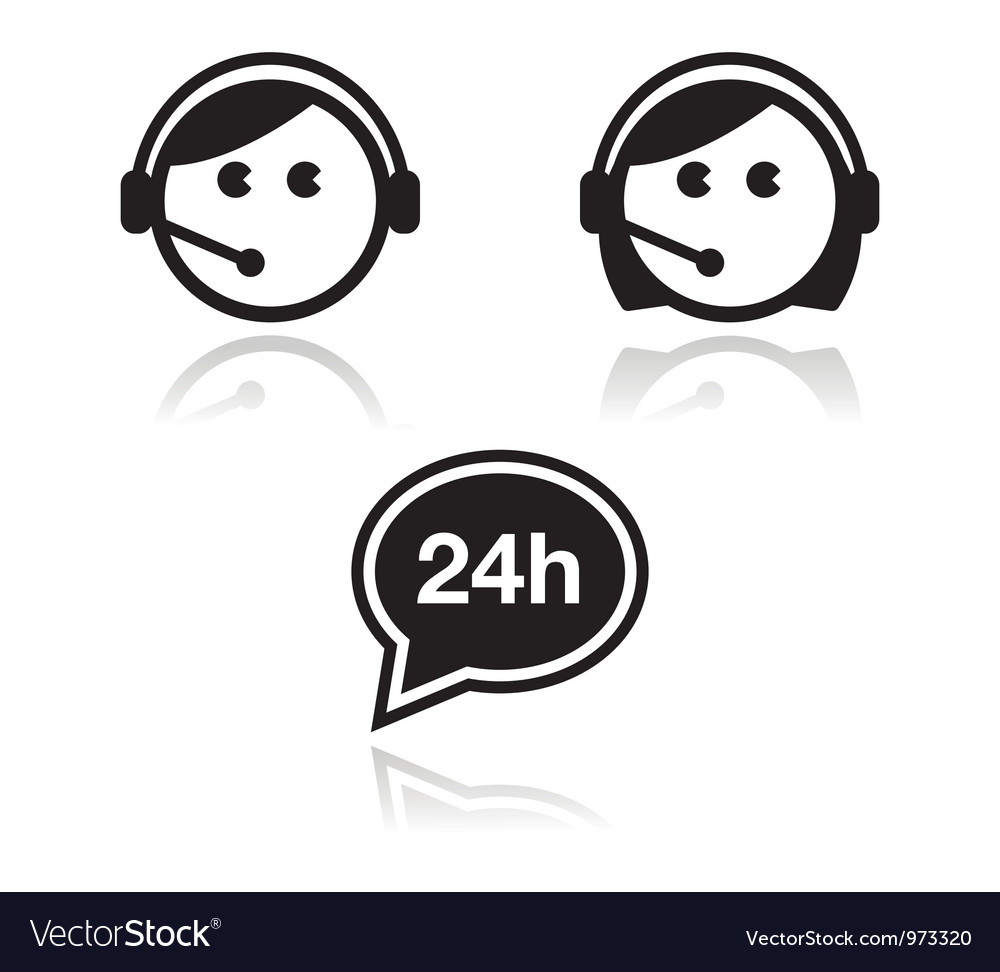 Customer service icons set  call center agents vector