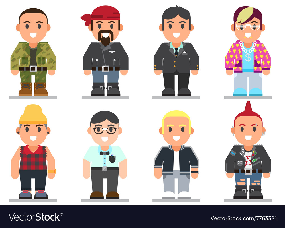Different subcultures man in trendy flat style vector