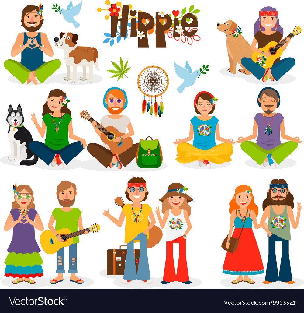 Hippie people icon set vector