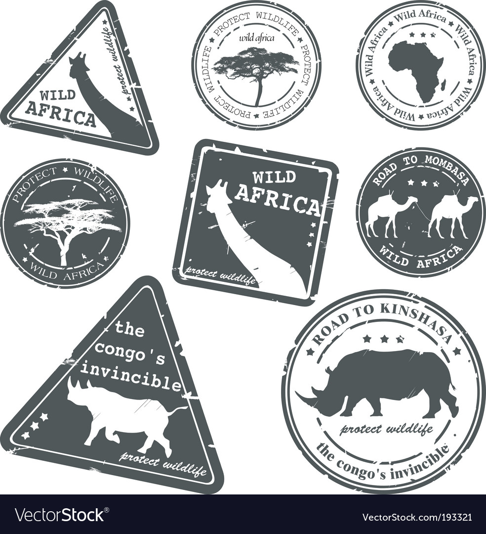 Stamp wild africa set vector