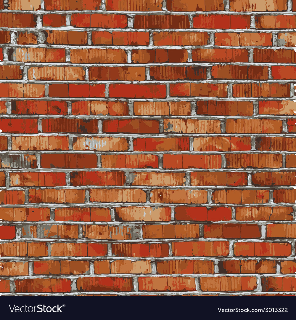 Brick wall red relief texture with shadow vector