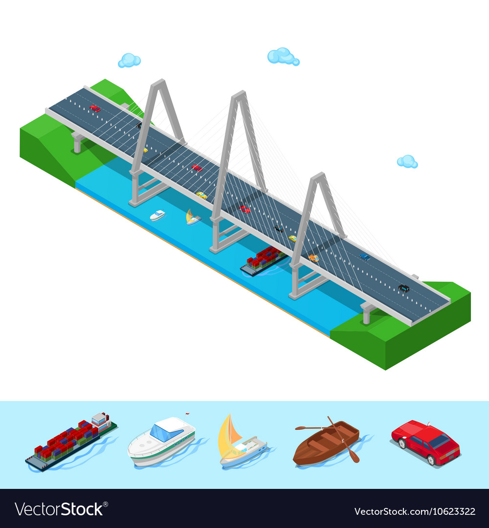 Isometric river bridge with ship boat highway vector
