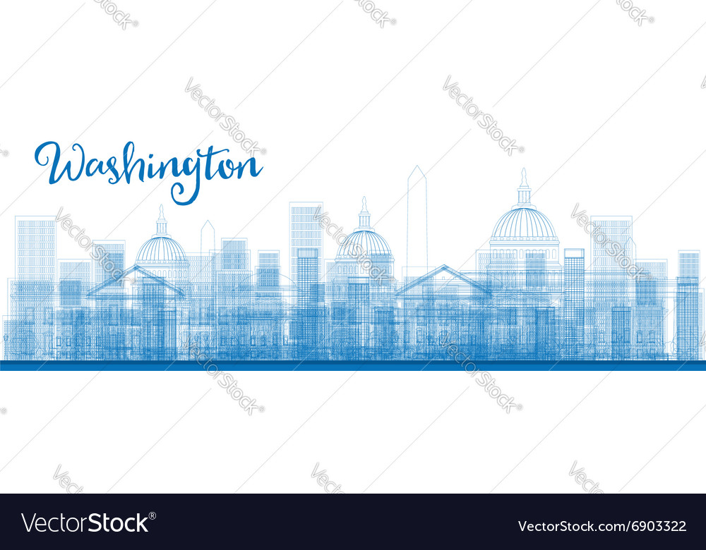 Outline washington dc city skyscrapers in blue vector