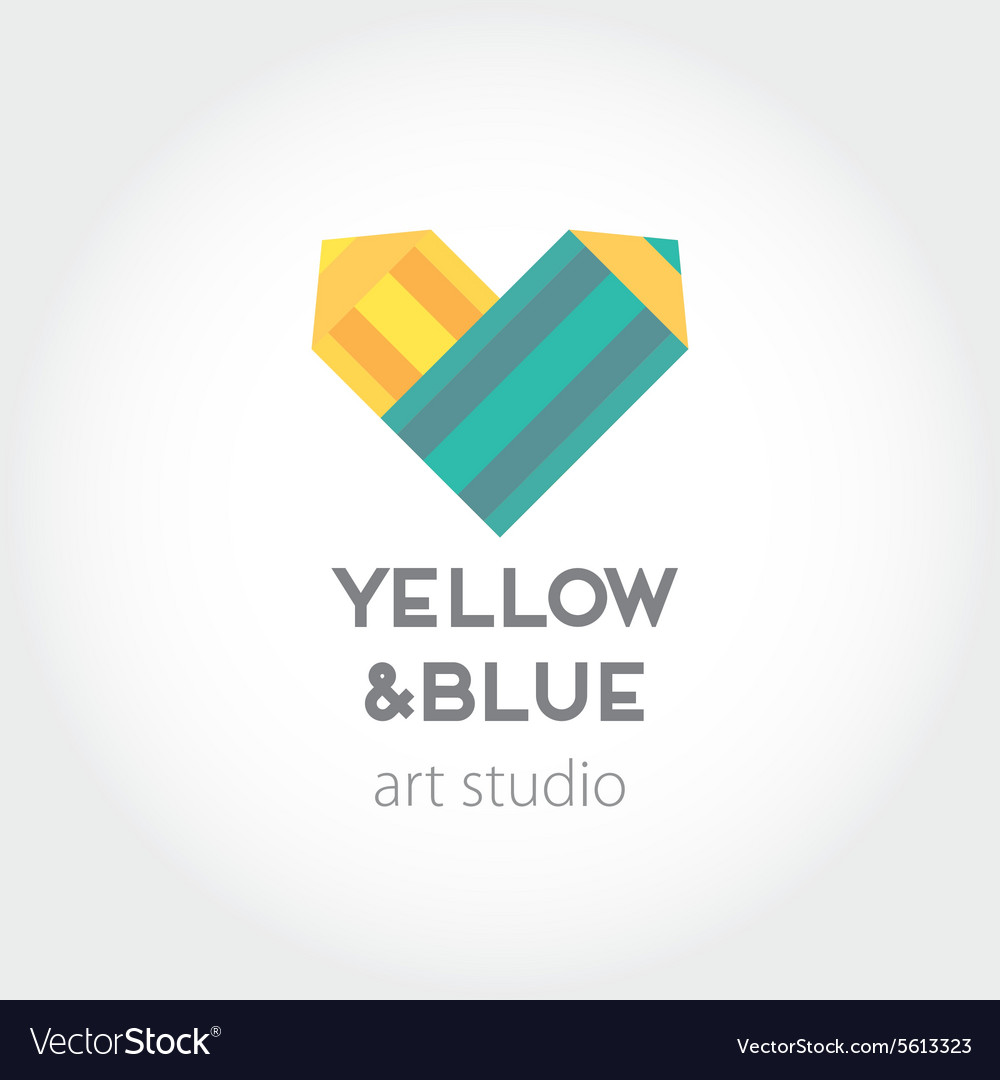 Art design heart yellow and blue pencils abstract vector