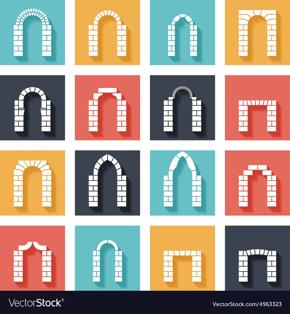 Flat silhouette icons of arches with shadow vector