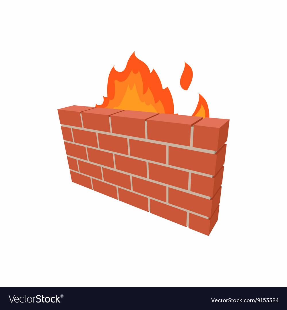 Firewall icon in cartoon style vector