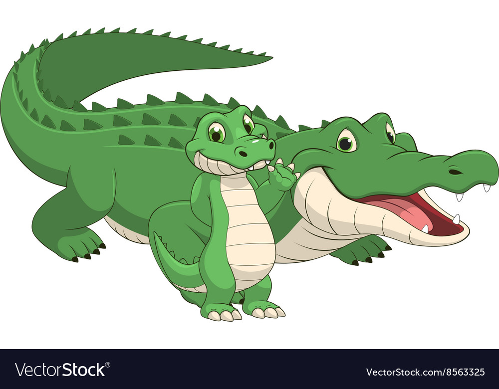 Crocodile with cub vector