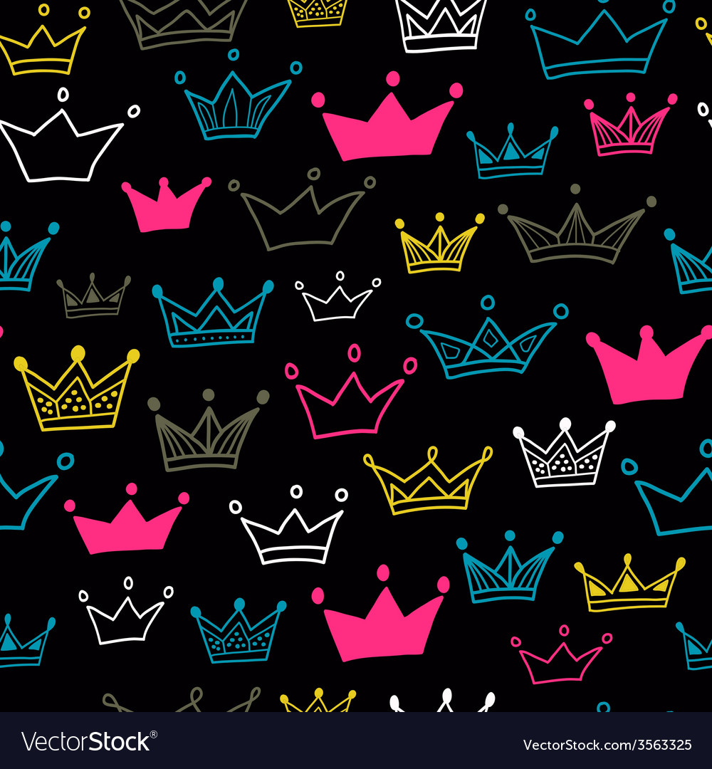 Crown seamless pattern on black background bright vector