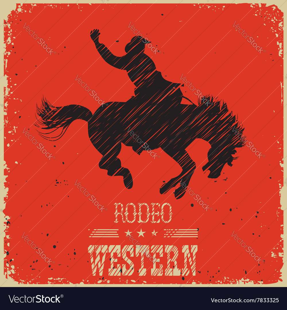 Western cowboy riding wild horsewestern poster on vector