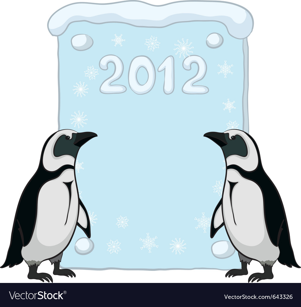 Emperor penguins with poster 2012 vector