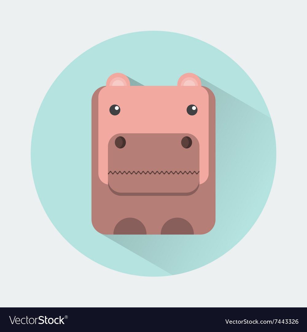 Hippo baby animal icon vector