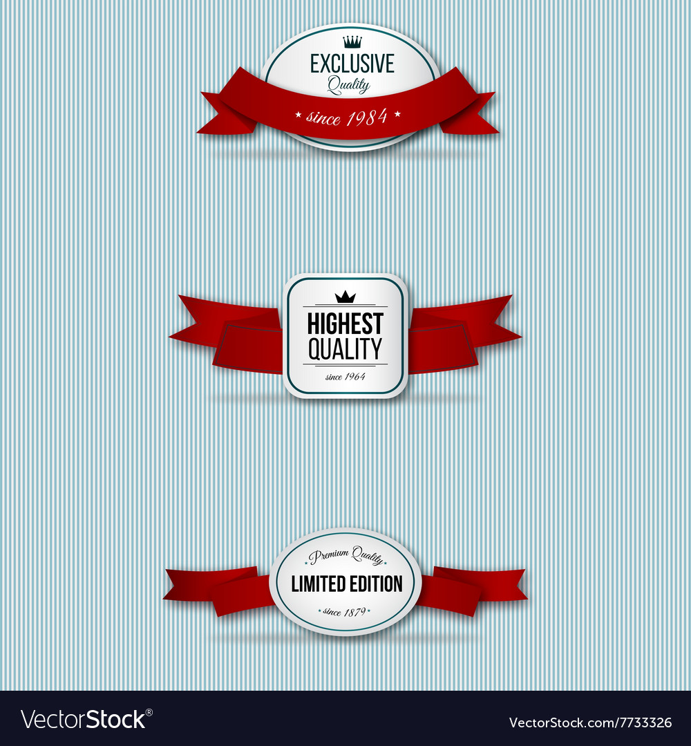 Red retro premium badges vector