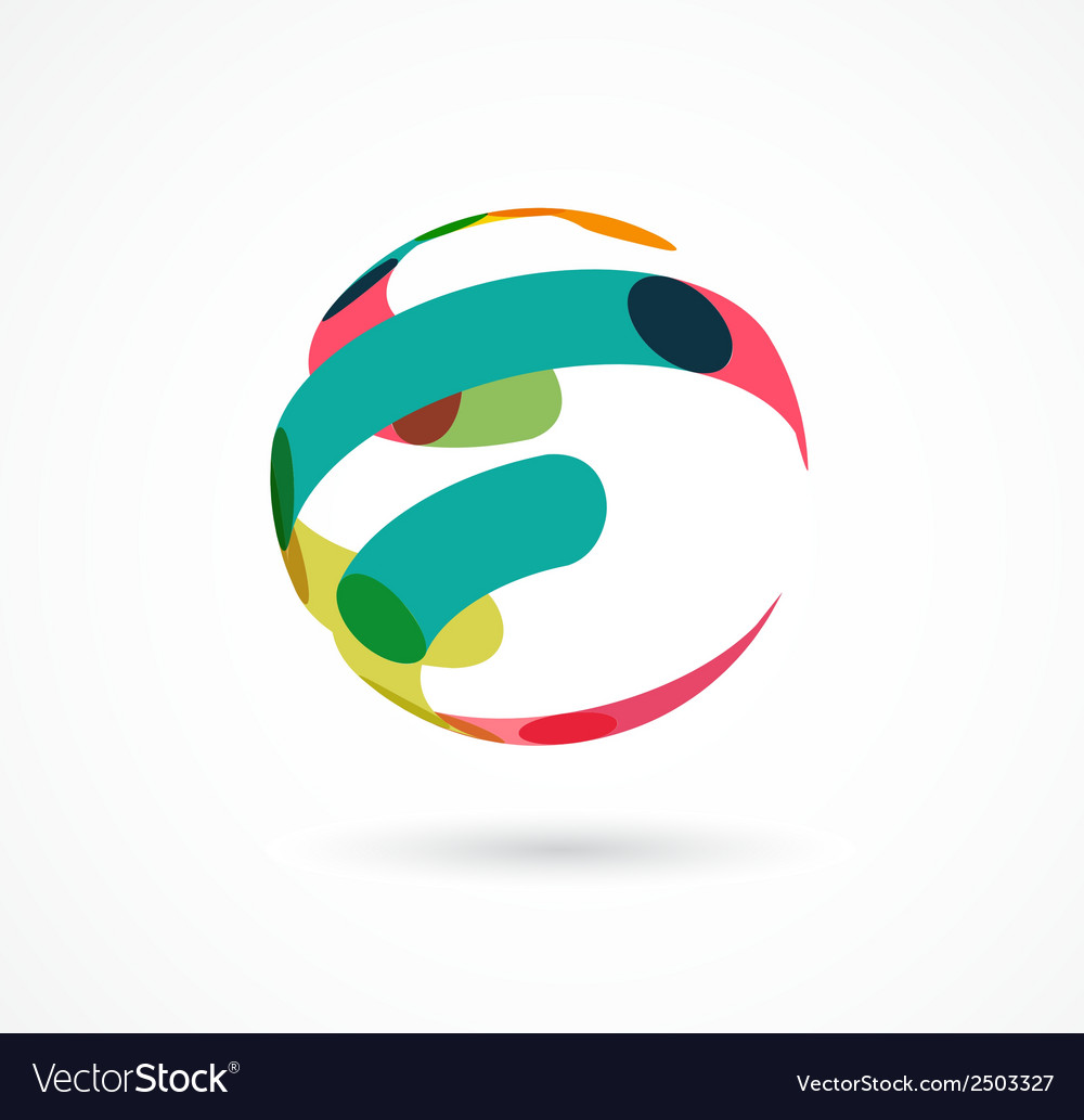 Abstract colorful globe business icon vector