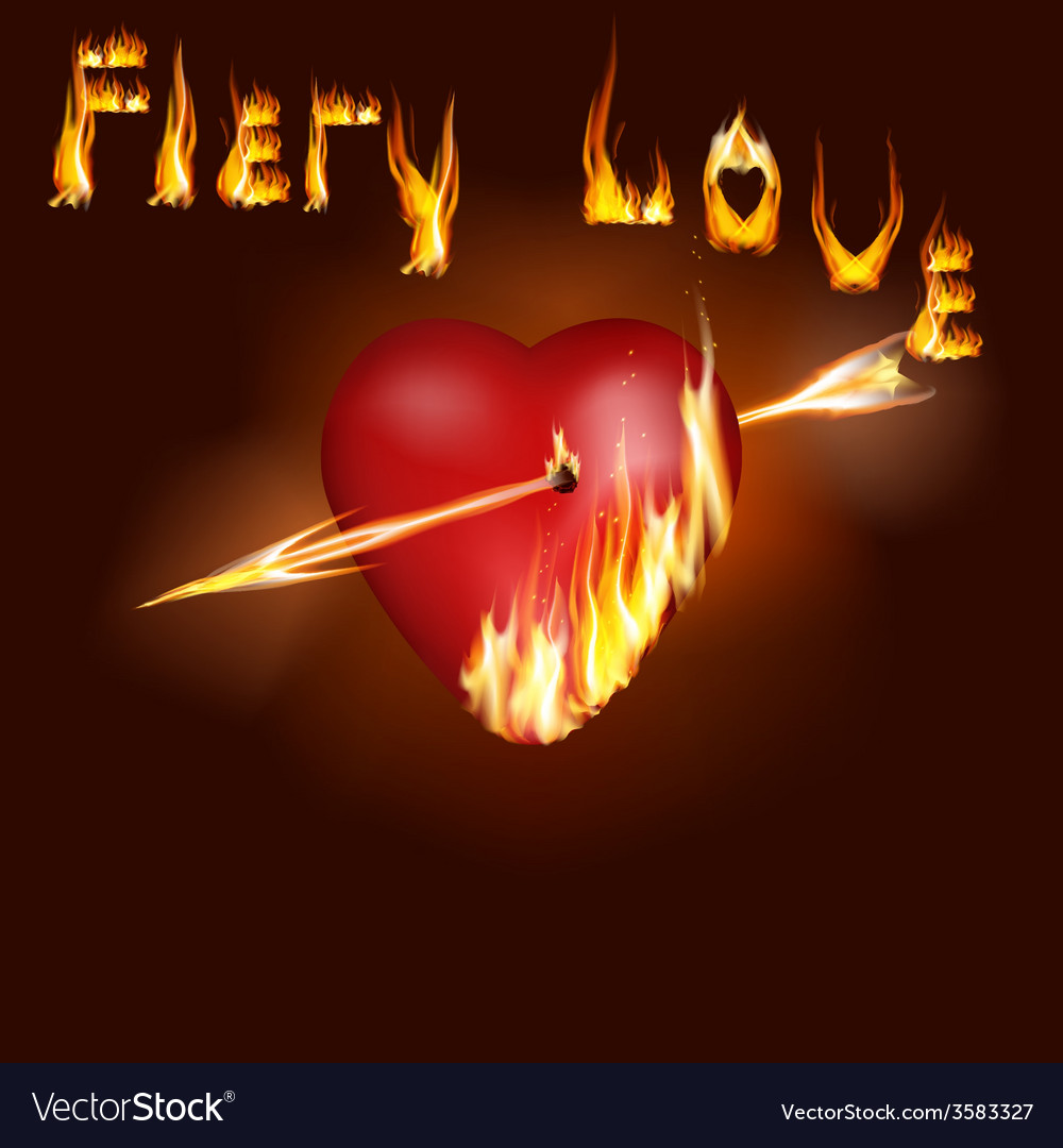 Fiery heart vector