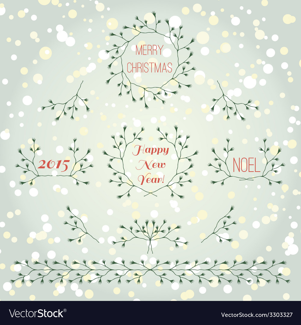 Merry christmas branches set vector