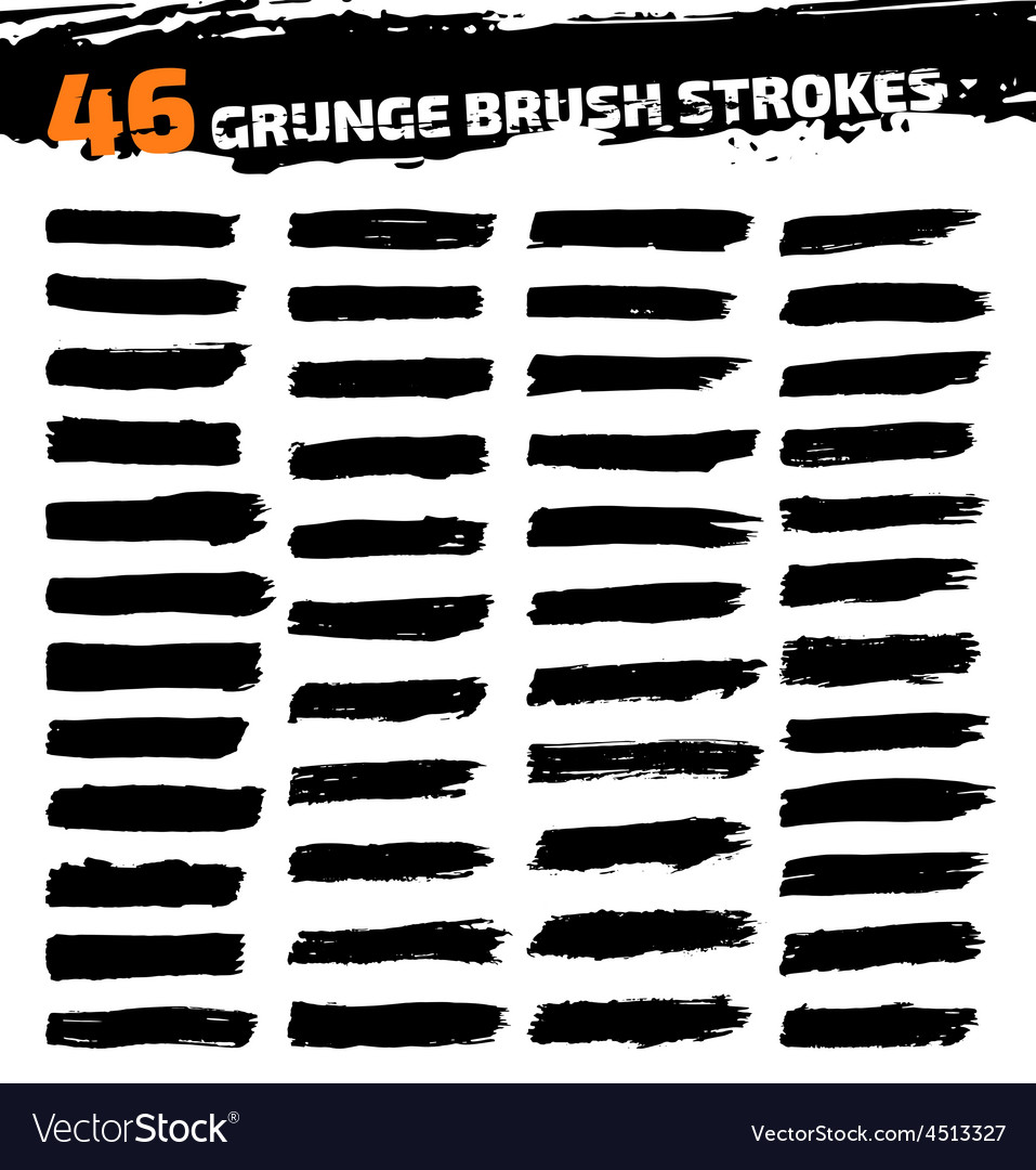 Set of black different grunge brush strokes vector