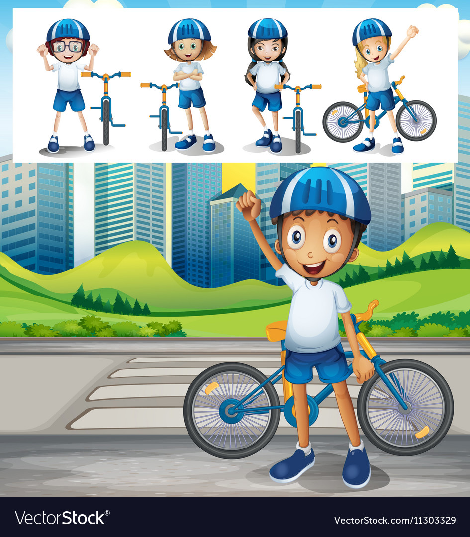 Boy riding bike in park vector
