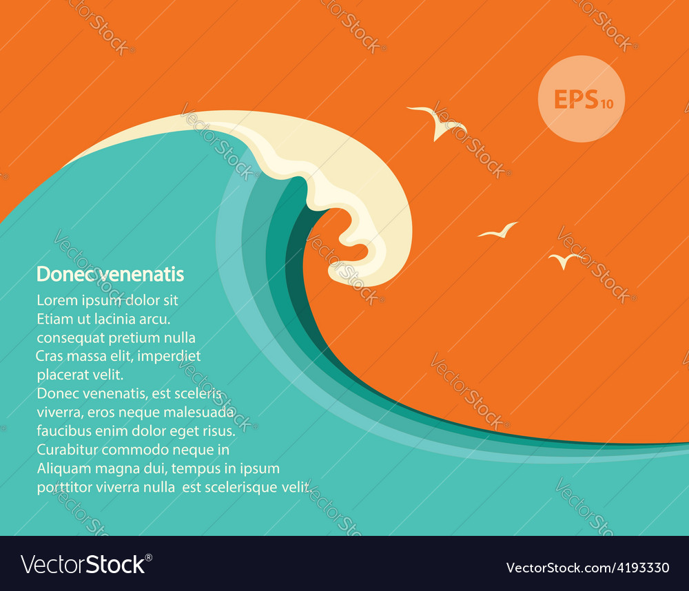 Blue big wave for text vector