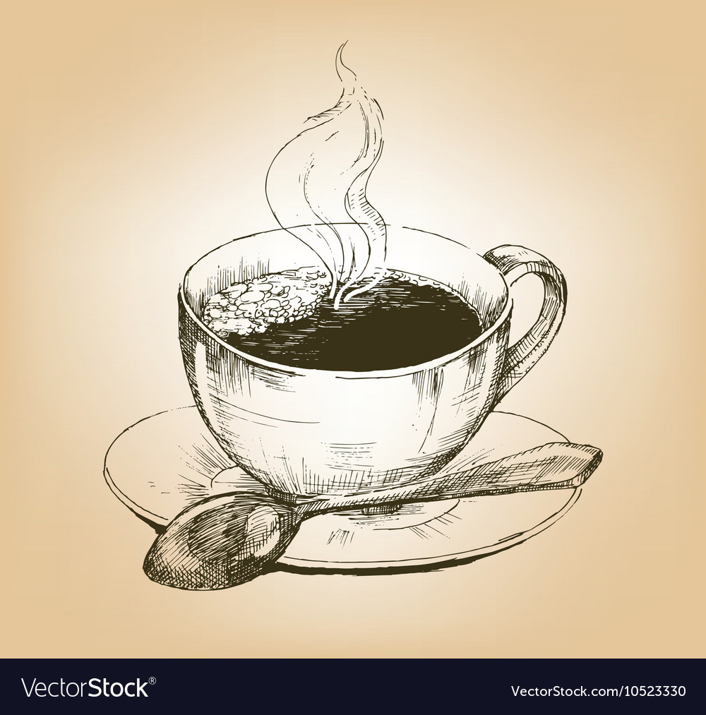 Cup of hot coffee on saucer vector