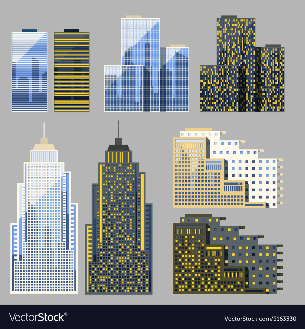 Set of detailed skyscraper vector