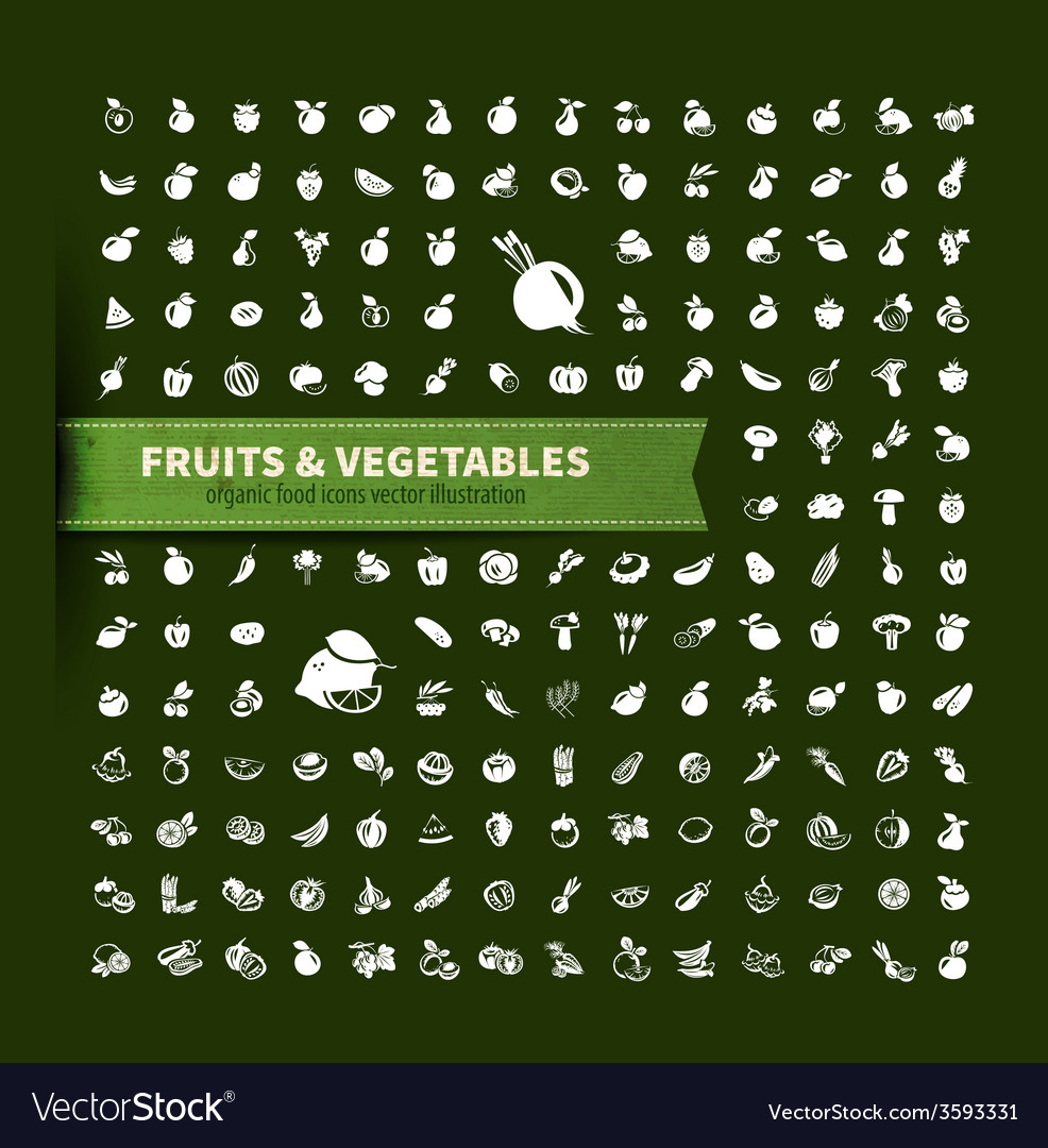 Food fruit and vegetables icon set vector