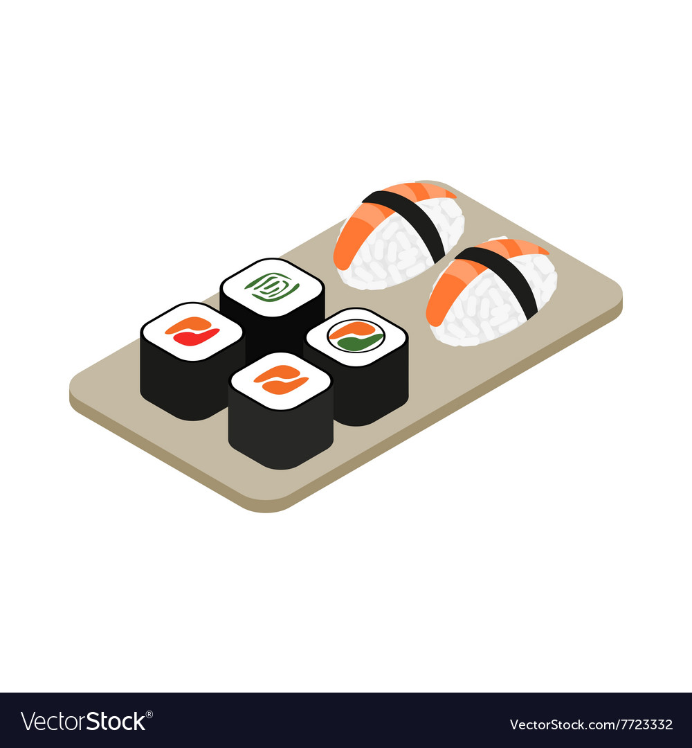 Japanese seafood sushi roll icon vector