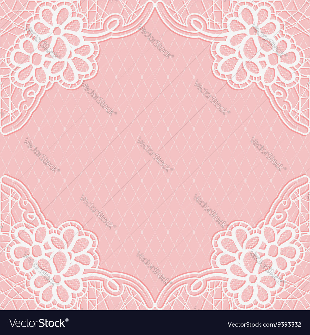 Whitepink lace frame with a mesh background for vector