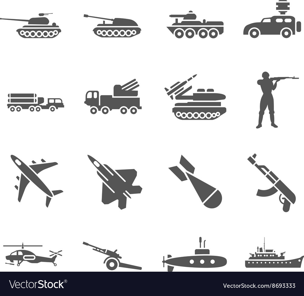 Army military icons set vector