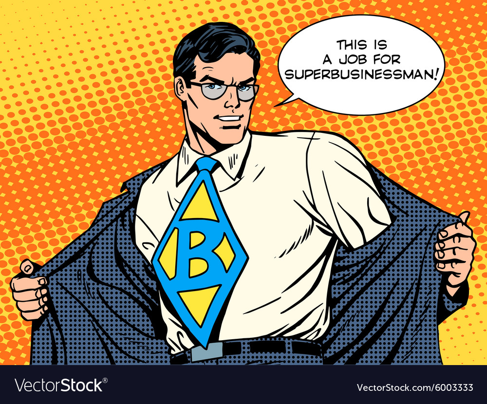 Job super businessman hero vector
