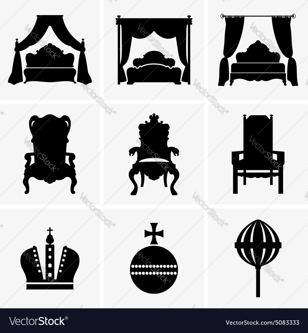 King beds and thrones vector