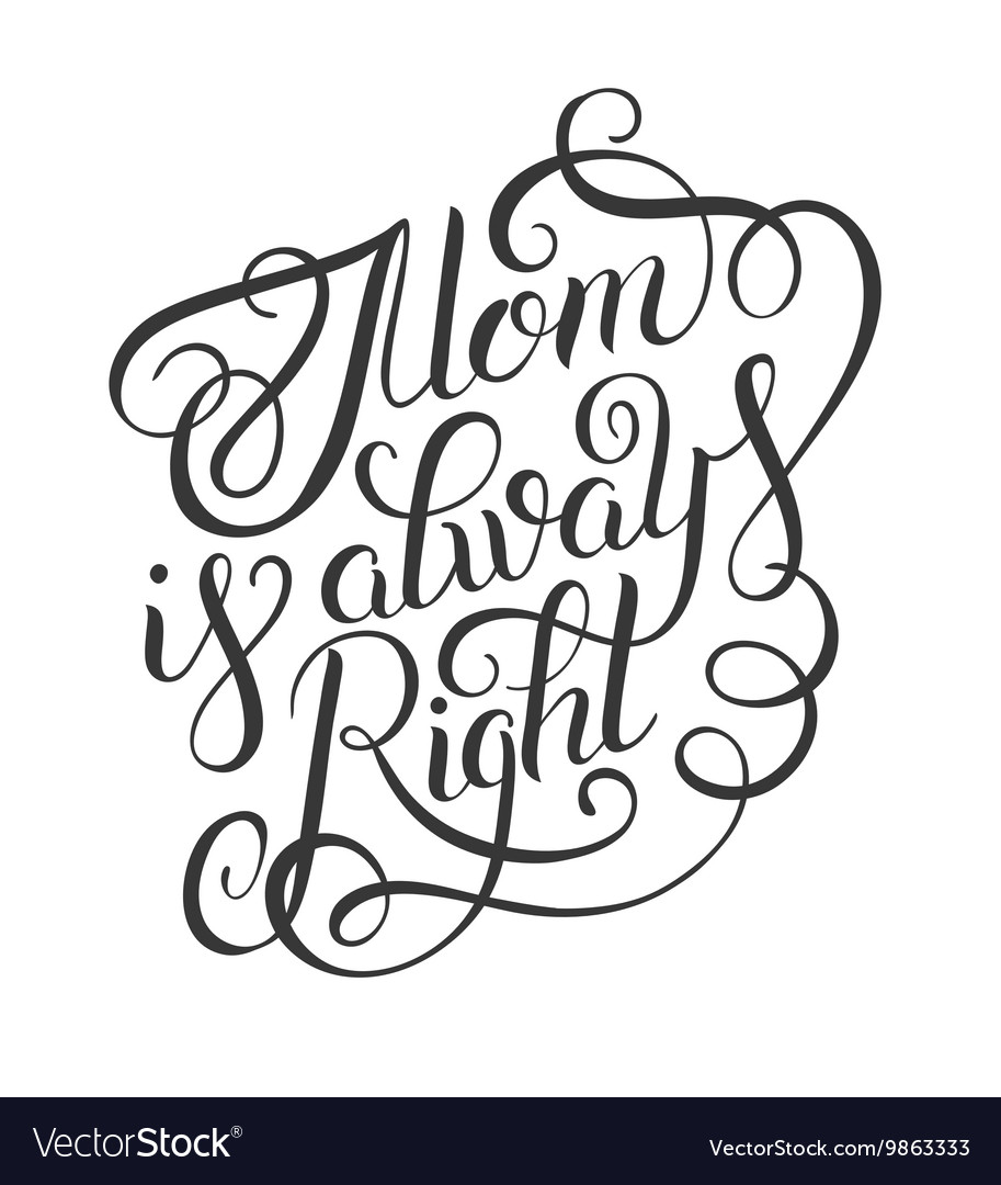 Mothers day greeting card mom is always right  vector