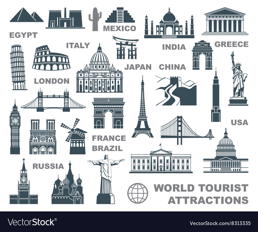 Icons world tourist attractions vector