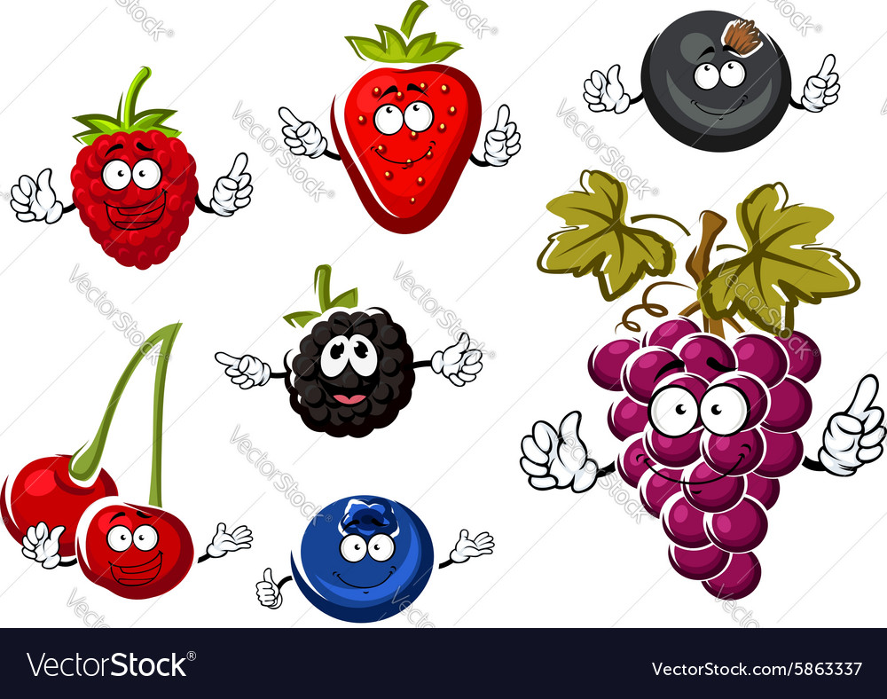Assorted isolated fresh cartoon berries vector