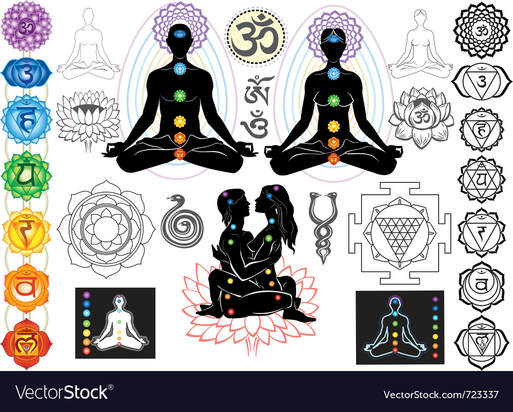 Chakras and esoteric symbols vector