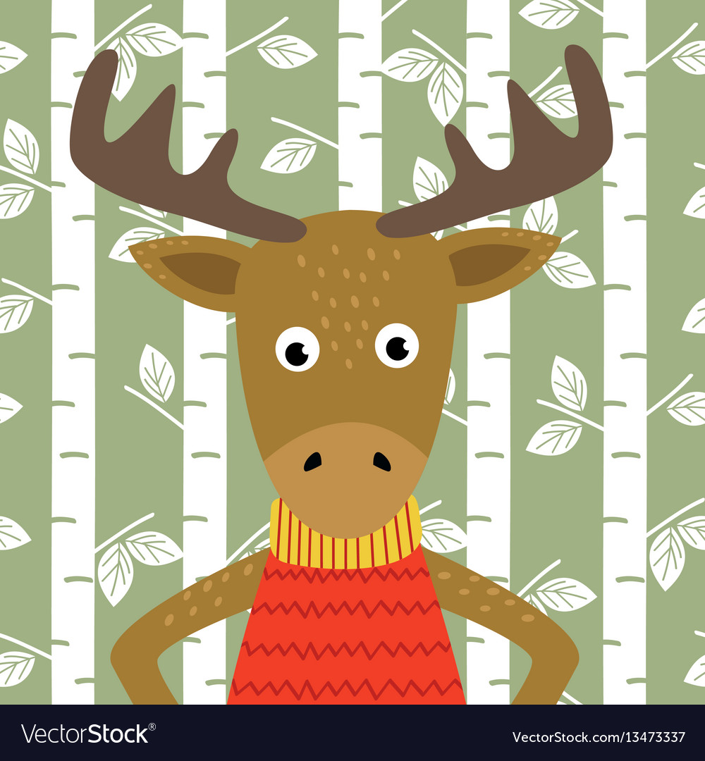 Elk on background of birch trees vector
