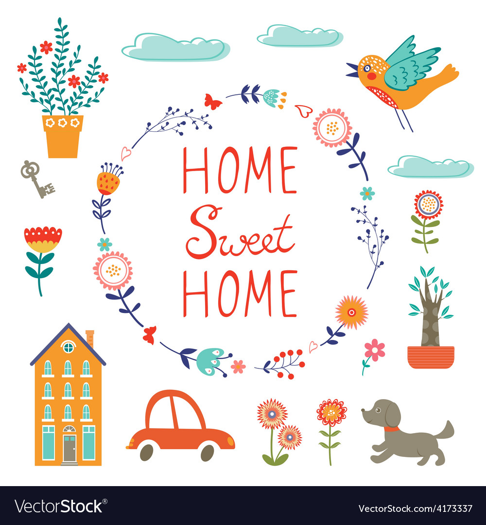 Home sweet home colorful set vector